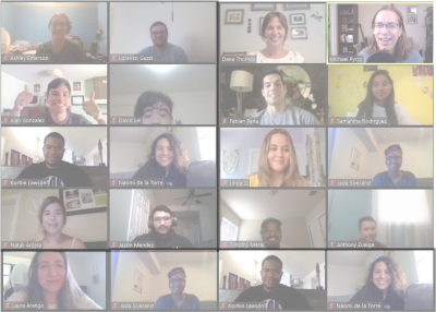 Photo of the GeoVISION 2020 participants, all participating in a Zoom call.