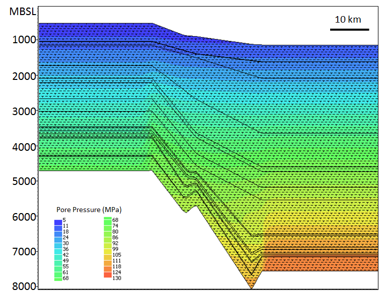 Pressure Distribution in the Auger Basin, Gulf of Mexico