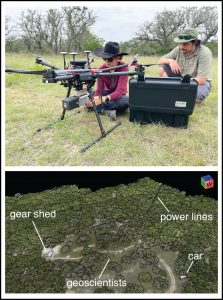 (Top) PhD student Mariel Nelson and Tim Goudge setting up a UAV for lidar mapping. (Bottom) Colorized lidar point cloud.