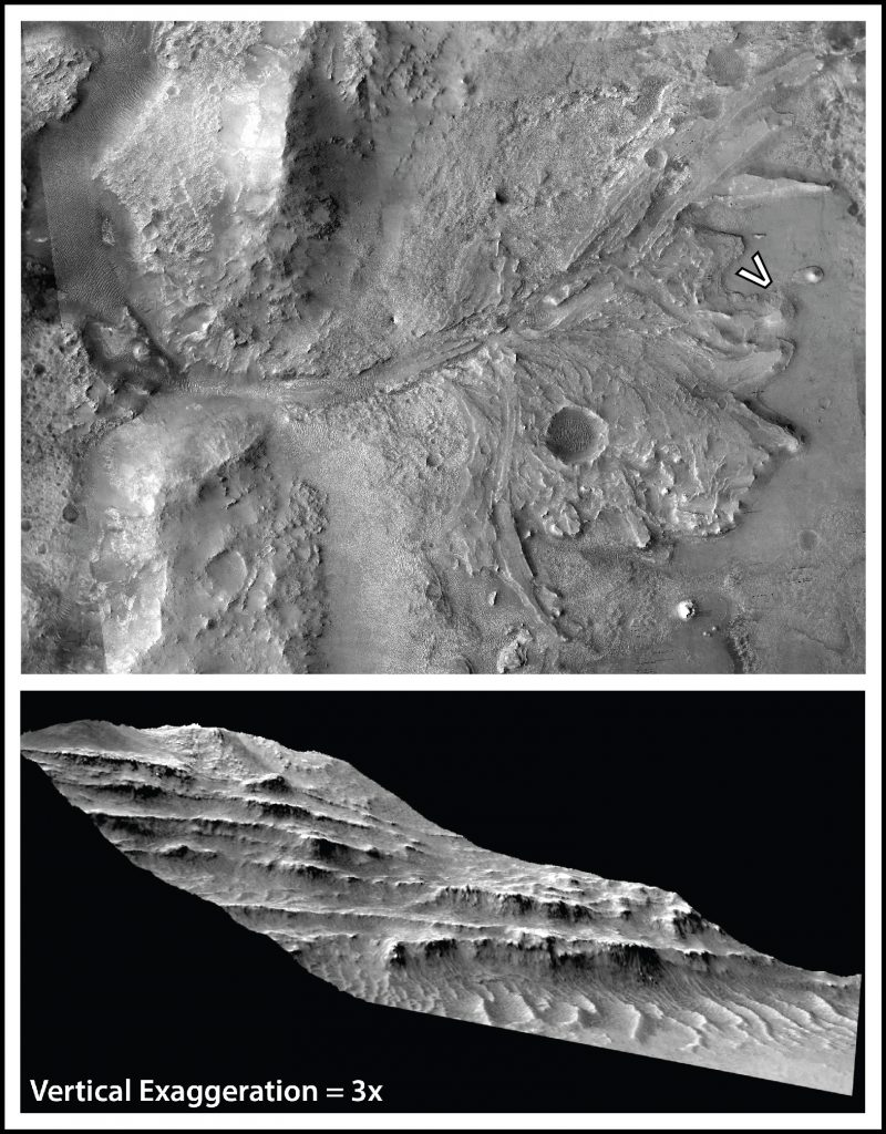 (Top) Jezero crater delta. (Bottom) Outcrop model showing exposed delta stratigraphy.