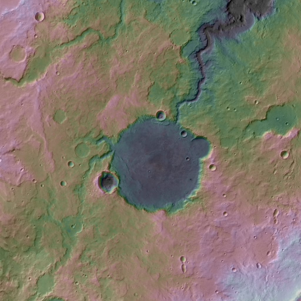 Topography of a paleolake system on Mars.