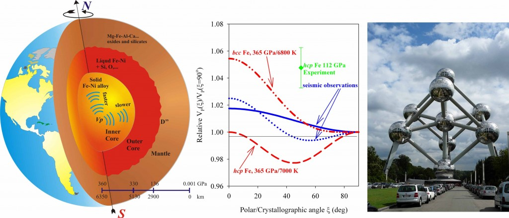 A cutaway of the Earth's interior reveals seismic anisotropy of the inner core