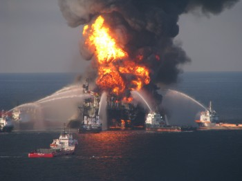 Fire boat crews battle the blazing remnants of the oil rig Deepwater Horizon