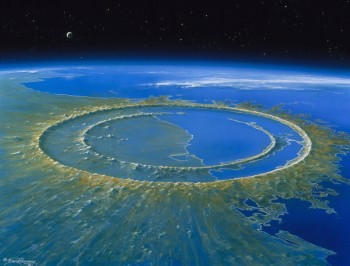 An artist's impression of what the Chicxulub crater might have looked like soon after an asteroid struck the Yucatán Peninsula in Mexico. Researchers studied the peak rings, or circular hills, inside the crater. Credit Detlev van Ravenswaay/Science Source