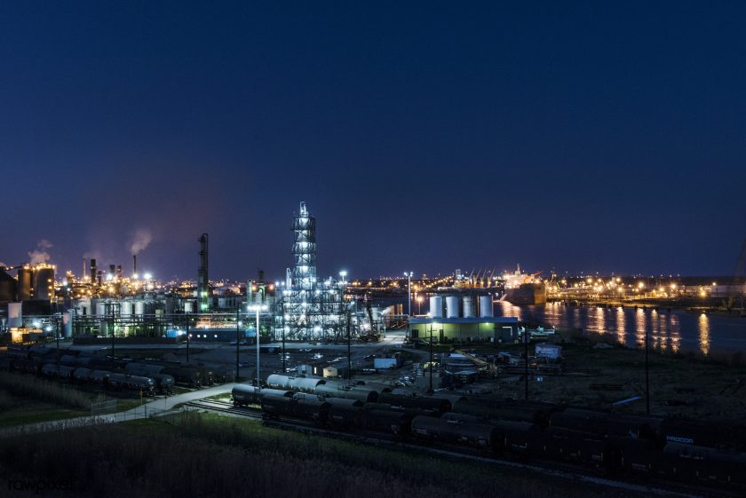 Dusk Shot Of An Industrial Scene Along The Road From Port Arthur