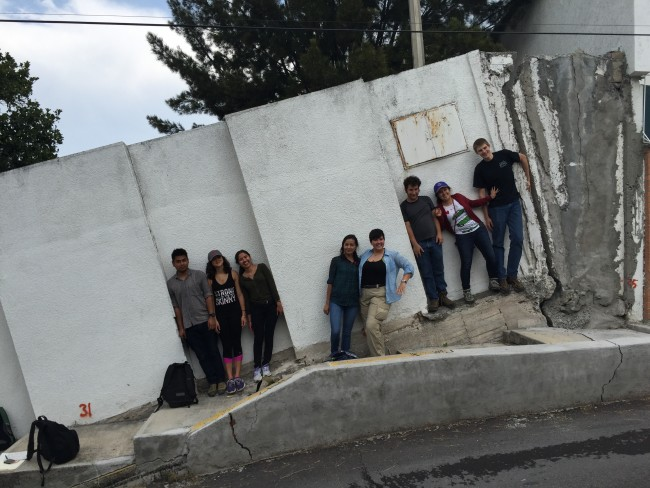 Students by building tilted by subsidence.