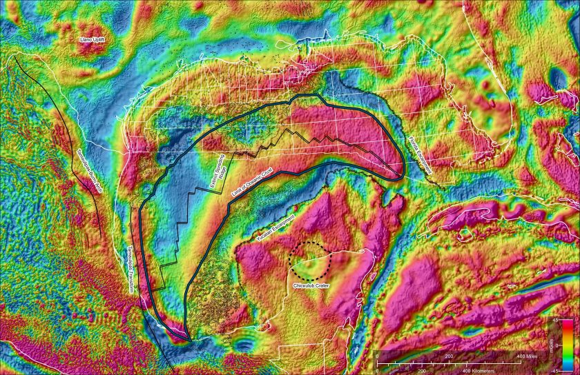 The colors of the gravity map show the location of regions with heavier and lighter rocks.