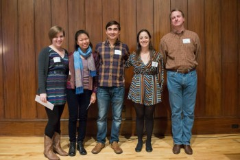 (From left to right) the three winners of the late-career Ph.D. Best poster award with symposium organizer Emily Hernandez Goldstein and a representative from ConocoPhillips.