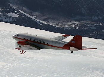 The DC-3 aircraft used by UTIG for studies of Earth's ice sheets. The plane carries a radar system similar to the one that will scan Europa.