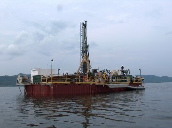 The Glad800 drilling platform taking long sediment cores from the Lake Bosumtwi impact crater.Tim Shanahan.