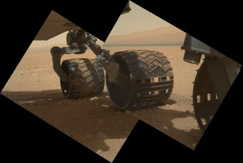 Curiosity with Mount Sharp in the distance.