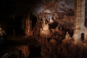 The cave room in Puerto Princesa Subterranean River National Park in Palawan, Philippines. A stalagmite collected from this location served as a record for ancient rainfall data. Photo by Raf Rios.