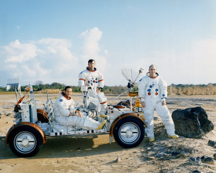 Charlie Duke (left), John Young, And Ken Mattingly Pose With The 1 G Lrv Trainer In The Area At The Cape Where The Crews Practised Geology Procedures