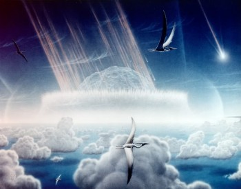 An artist's impression of the Chicxulub asteroid impacting the Yucatan peninsula as pterodactyls fly in the sky above.