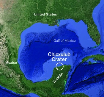 A map showing the location of the Chicxulub crater.