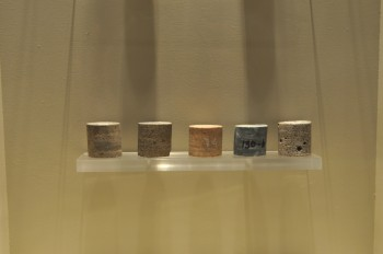 PEMEX Chicxulub core samples on display at a museum in Merida.