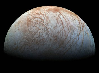 Scientists think an ocean of water that could potentially support life likely exists under Europa's icy surface. Europa is nearly the same size as Earth's Moon, but may have twice as much water as the Earth. Image: NASA/JPL-Caltech/SETI Institute PIA19048.