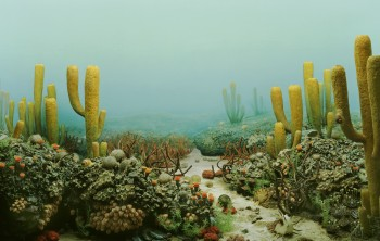 A diorama at the University of Michigan's Museum Of Natural History shows life that thrived In Permian Seas before the extinction. University of Michigan Museum of Natural History.