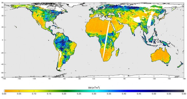 Global soil moisture map created by NASA's SMAP satellite.