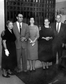 Jack and Katie standing with her parents, Augusta M. and Otto A. Graeter, Sr., and Jack's mother, Edna Elizabeth Blakey Jackson, at his side.