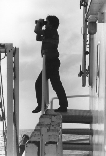 Patricia Ganey-Curry on the deck of the UTIG seismic research vessel the RV Ida Green in 1977.