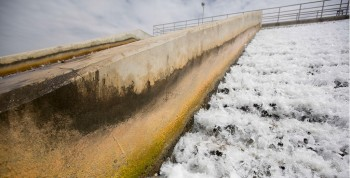 A cascade aerator on the site of the Twin Oaks Valley Water Treatment Plant outside of San Antonio. Photo: Gabriel Cristóver Pérez for the Texas Tribune