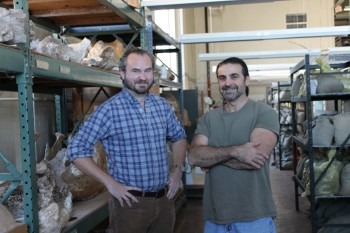 Matthew Brown, the director of the Vertebrate Paleontology Laboratory, with artist John Maisano.