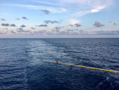 A photo of a seismic streamer in the Pacific ocean.