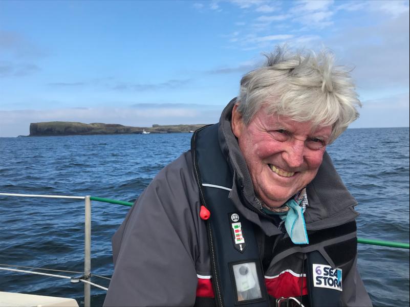 A portrait of Ian Dalziel at sea.