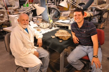 (Right to Left) Joshua Lively, a Jackson School Ph.D. student led the research, and Jerry Golden, to Jerry Golden, a volunteer at the Natural History Museum of Utah, who prepared the new holotype specimen.