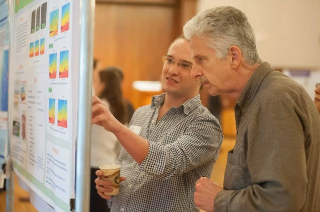 John Long ('78) and student Cody Colleps at the 5th Annual Student Research Symposium.