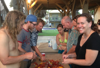 Celebrating a successful week of surveying with a crawfish boil.