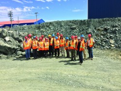 The group visiting the Ming copper and gold mine.
