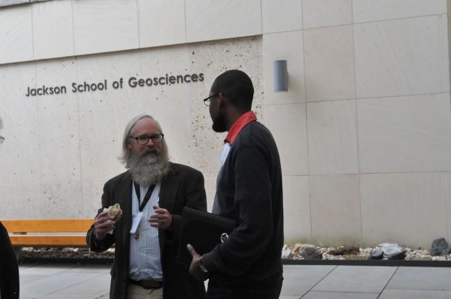 David Mogk (left), a professor at Montana State University, and Alex Manda, an assistant professor at East Carolina University, at the education summit.