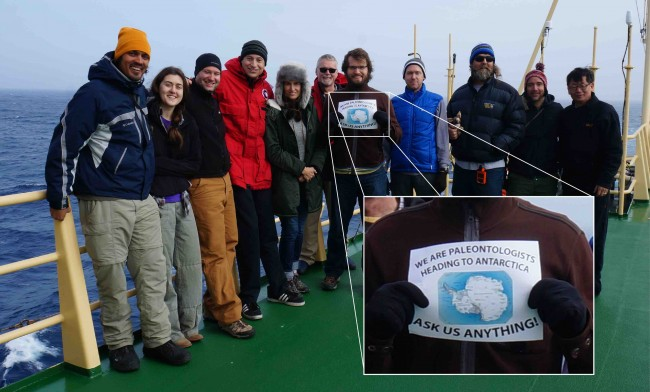 Researchers on the Antarctic Peninsula paleontology project took questions while searching for fossils in the South Pole. Jackson school professor Julia Clarke is fifth from the left.