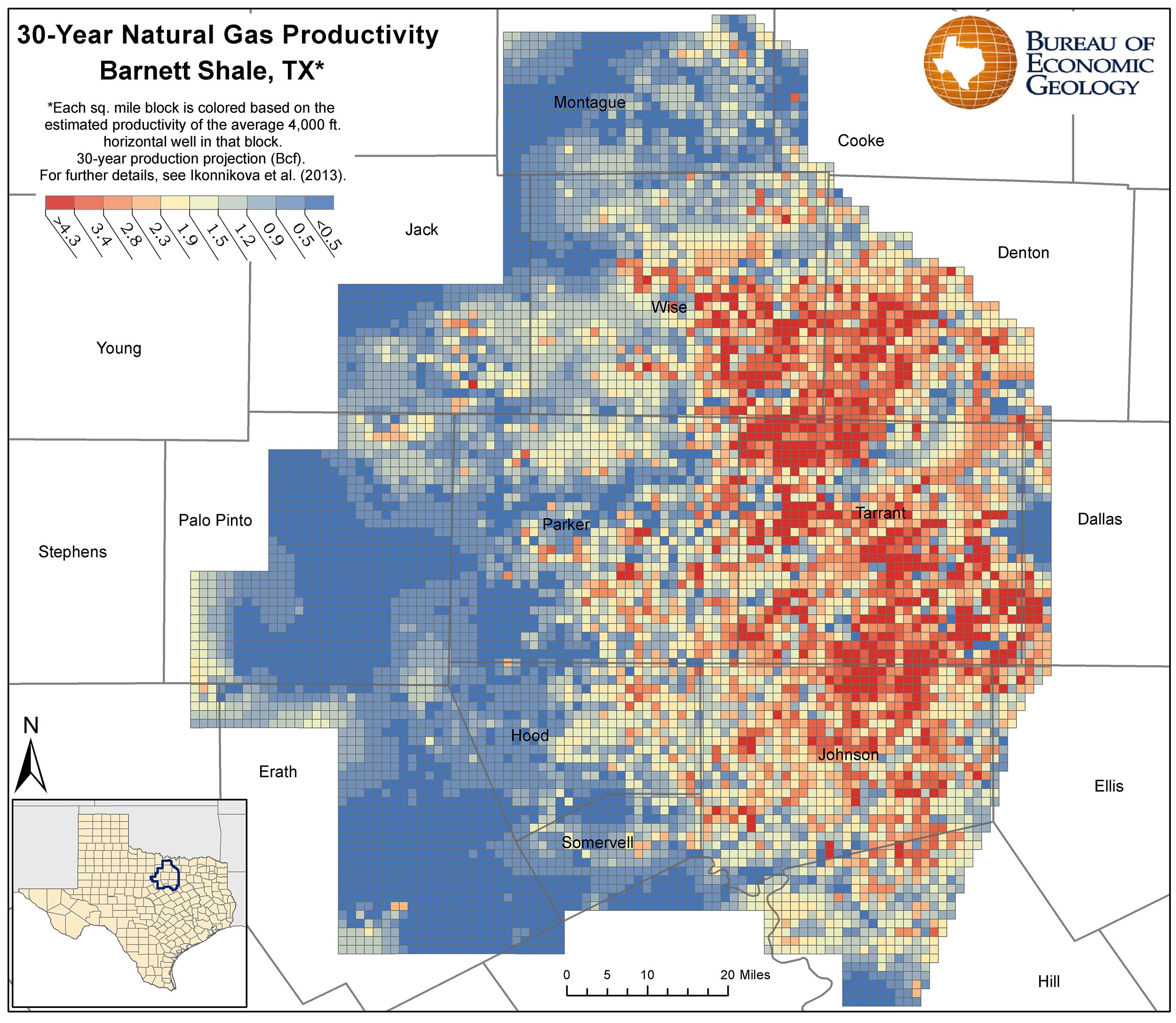 Texas Natural Gas Production Map
