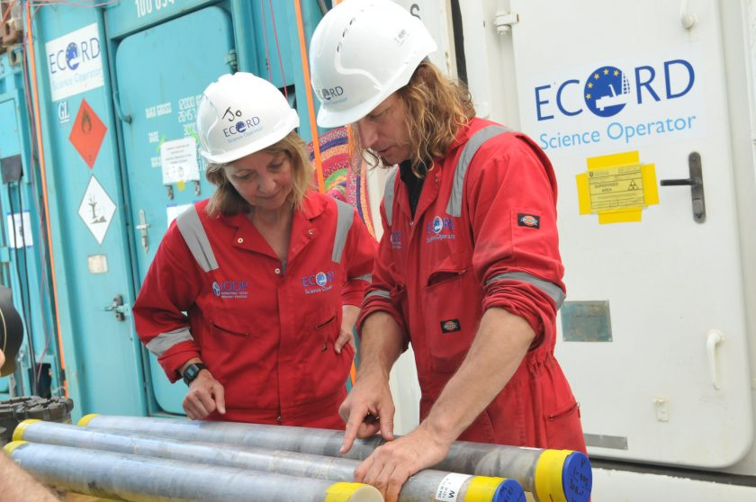 Researchers With Core Samples