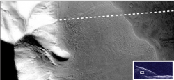 Portion of a large rock-covered flow feature in the eastern Hellas region of Mars. Recent measurements from the Mars Reconnaissance Orbiter SHARAD radar sounder have detected large amounts of water ice in this deposit, arguing for the flow of glacial-like structures on Mars in the relatively recent geologic past. This suggests that snow and ice accumulated on the slope face and flowed over the neighboring plains and is now protected from sublimation by a layer of rock debris and dust. Dashed line shows path of spacecraft and inset shows resulting radar reflections. Over the glacier, there are two reflections: one from the sloping surface and one from the subsurface below the ice. Image is 20 km (12.8 mi.) by 50 km (32 mi.). From the Context Camera on Mars Reconnaissance Orbiter. NASA/JPL/Malin Space Science Systems