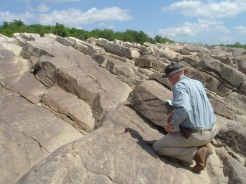 The bureau's Chock Woodruff, a geologist, studying an outcrop of Smithwick sandstone along the upper reaches of Lake Travis.