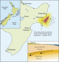 A graphic illustrates seismic activity in New Zealand. GNS Science.
