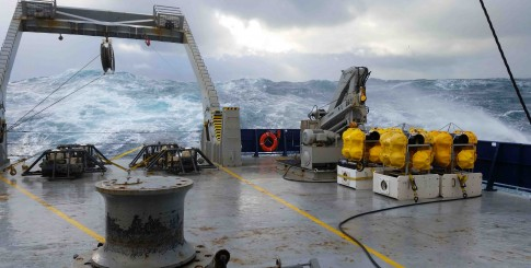 Bright yellow BPRs face rough seas before deployment. Justin Ball.