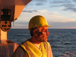 Anatoly Mironov, a UTIG research scientist associate, at sea. Anatoly Mironov.