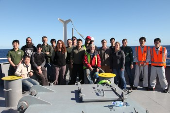 The HOBITSS researchers on the first cruise to place slow slip sensors along the Hikurangi trench. Jenny Nakai.