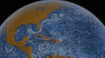 A scientific visualization of the Earth's ocean currents. NASA.