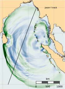 Map of north Indian Ocean showing the simulated earthquake with colored bands.