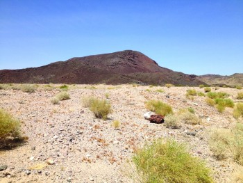 Dish hill, a cinder cone volcano in the Mojave desert, erupted many of the xenolith samples that Rachel Bernard.