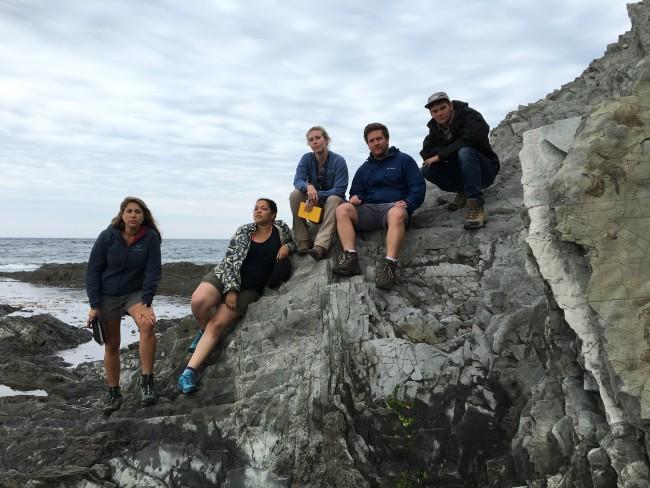 Whitney Behr, Rachel Bernard, Alissa Kotowski, Nicholas Dygert and Travis Clow on an Outcrop in Newfoundland.