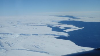 Aerial photo of Totten Glacier's ice shelf edge taken during one of the team's geophysical survey flights. Image: Jamin Greenbaum