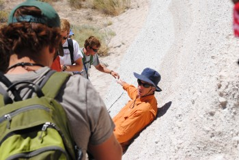 Jim Gardner leads a volcanology field camp at Valles Caldera, New Mexico.