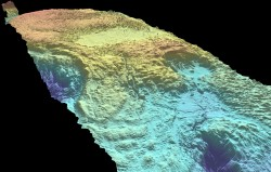 A digital elevation model of Yellowstone lava flow. The model covers about 35 square miles and was made using an aerial laser mapping technique called LIDAR.